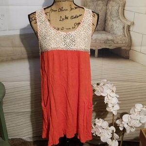 Umgee Coral colored dress with lace top